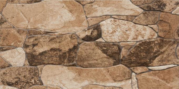 Light Brown 600 X 300 Ceramic Wall Tiles , Bathroom Wall Tiles 300x600  Stone Design Outside Wall