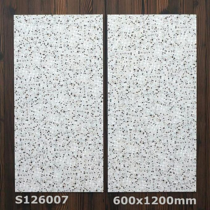 White Modern Matt Anti - Slip Ceramic Tile 600x1200mm Rustic Inside Bedroom Flooring