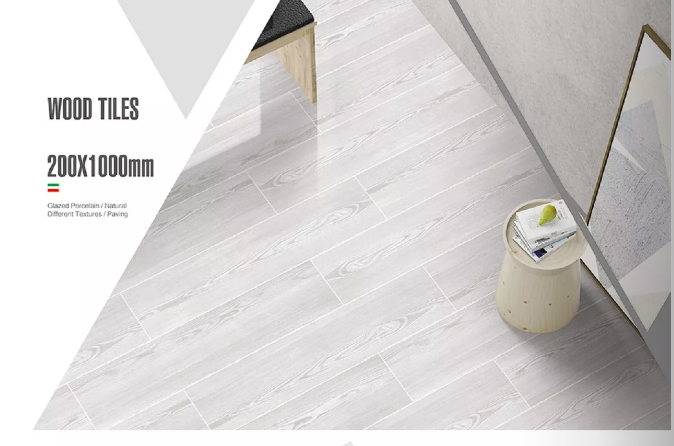 Gray Color Rectified Wood Effect Ceramic Tiles 1380N Breaking Strength