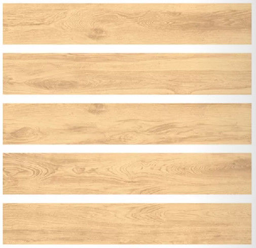 Yellow Color Porcelain Wood Look Tile Flooring Rectified Edge 200x1200MM Size