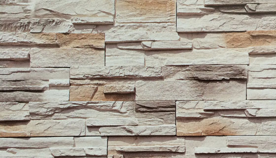 China White Color Synthetic Stone Panels Rustic Exterior Artificial Culture Thin Reef Stone factory